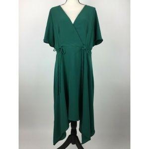 Adrianna Papell Asymmetrical Dress 14 Green A62-12